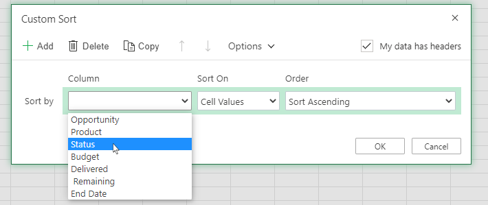 Select a column in the custom sort dialog