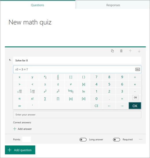 Math formula symbol selection