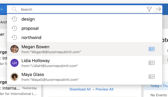 Image of search results in Outlook.