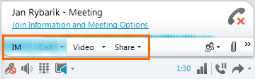Lync meeting selections
