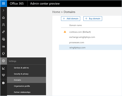 Screenshot shows Office 365 admin center with the Domains option selected. Domain names are shown on the page along with the options to add or buy a domain.