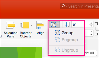 Shows the Group icon on the ribbon in PowerPoint 2016 for Mac