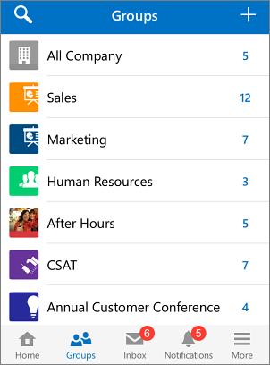 Screenshot of groups in Yammer mobile app