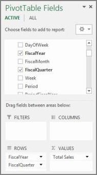 PivotTable Field List