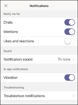 iOS Teams app notifications screenshot
