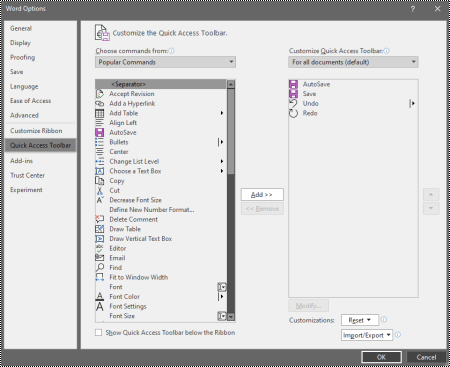 The Customize the Quick Access Toolbar tab in the Word for Windows options.