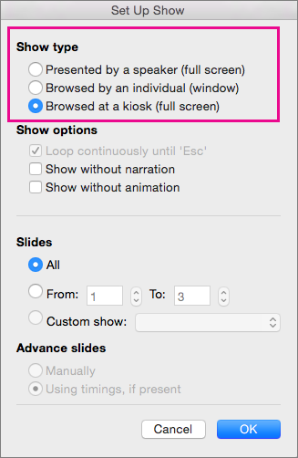 Show type options