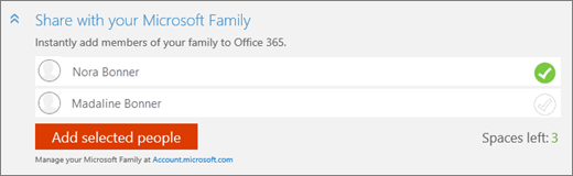 Close-up of the Share with your Microsoft Family section of the Add someone dialog box with the Add selected people button.