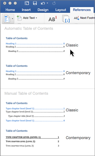 On the References tab, click Table of Contents, and then select an Automatic Table of Contents style from the gallery