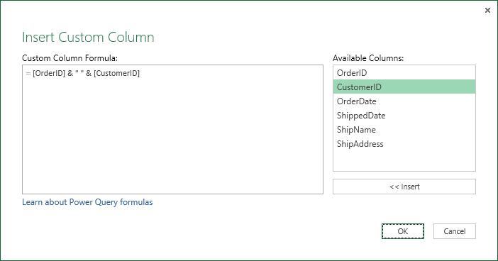 Specify custom column formula to merge column values