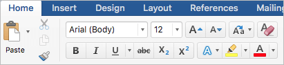 Screenshot of Font styling options on the Home tab