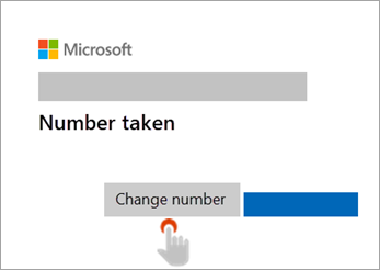Screenshot of hand pointing to Change number