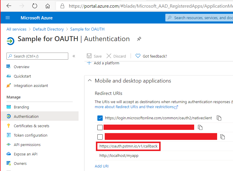 Azure Active Directory App Registration Redirect Uri