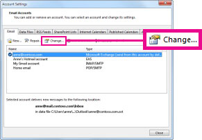 Change command in the Account Settings dialog box