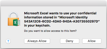 Office for Mac repeatedly requesting keychain access