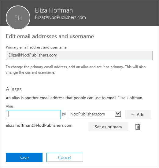 The Edit email addresses and username pane showing the primary email address, and an alias that can be set as the primary email address.