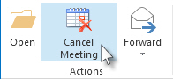 Cancel Meeting command on the ribbon