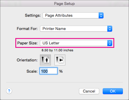 Select a paper size, or choose to create a custom size, by selecting it from the Paper Size list.