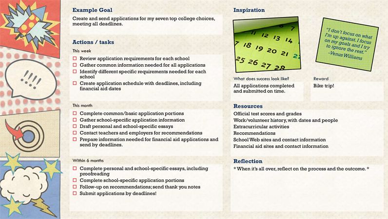 illustration of a goal setting workbook
