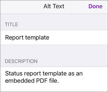 Add alt text to an embedded file in OneNote for iOS