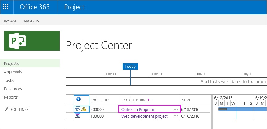 In the Project Center, choose the name of the project.