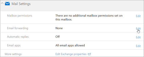 Screenshot: Chose Edit to configure email forwarding