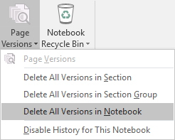 The Page Versions menu in OneNote 2016