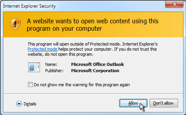 Internet Explorer security dialog box