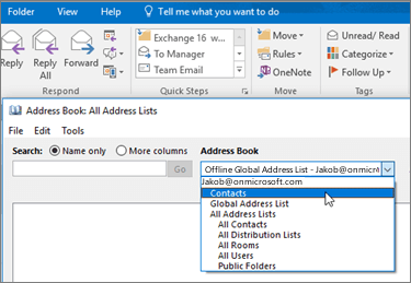 After you import your Gmail contacts, you can find them in Office 365 by selecting the Address Book