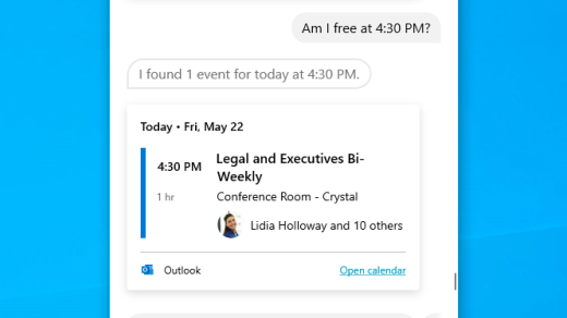 Check your calendar with Cortana in Windows