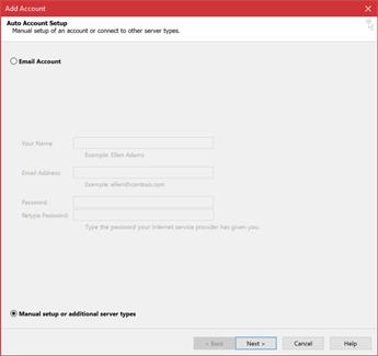 Choose Manual setup or additional server types