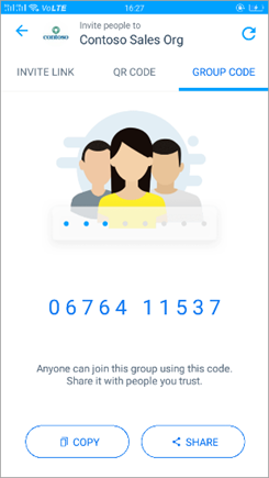 Screenshot of the Group Code page in Kaizala