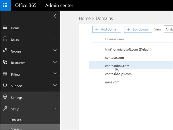 Select your domain in Office 365_C3_2017530143622