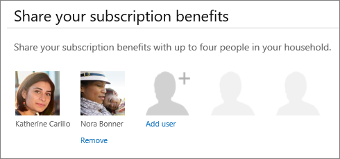 "Screen shot of the ""Share your subscription benefits"" section of the Share Office 365 page that shows the ""Remove"" link under a user's picture."