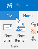 Screenshot of the File menu in Outlook 2016