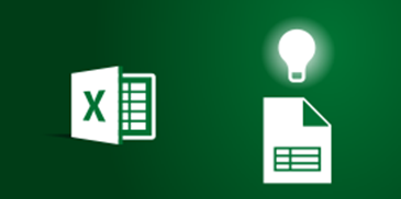 Excel and worksheet icons with lightbulb