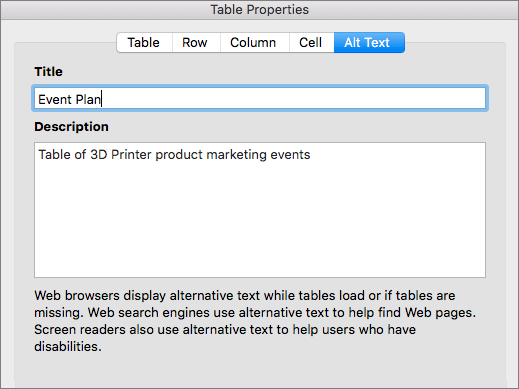 Screenshot of the Alt Text tab of the Table Properties dialog
