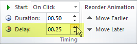 The Delay option for animation effects in PowerPoint