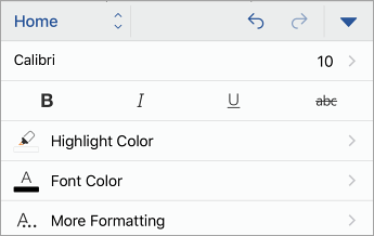 Home tab, with font styling options