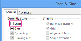 Snap & Glue dialog box with Snap cleared in Visio 2016