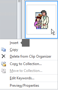 To insert a picture, right-click a thumbnail image and select Insert.