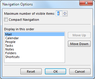 Navigation Options dialog box