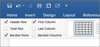 Screenshot of the Header Row check box