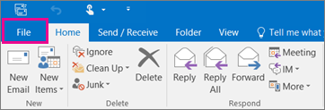 What the ribbon looks like in Outlook 2016