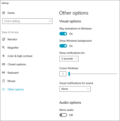 The Ease of Access, Other Options pane in Windows 10 settings