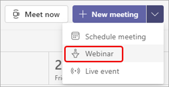 Select Webinar, the second option