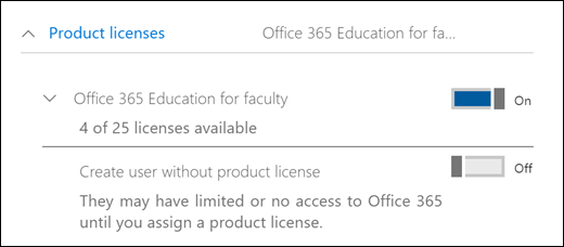 Screenshot of adding a user in Office 365, showing the expanded Product License section.