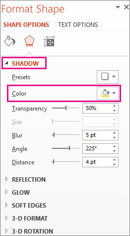Color button on the Shadow tab in the Format Shape Pane