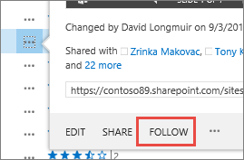 Select the Follow command in the hover card menu in OneDrive for Business