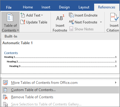 The Custom Table of Contents option is shown on the Table of Contents menu.